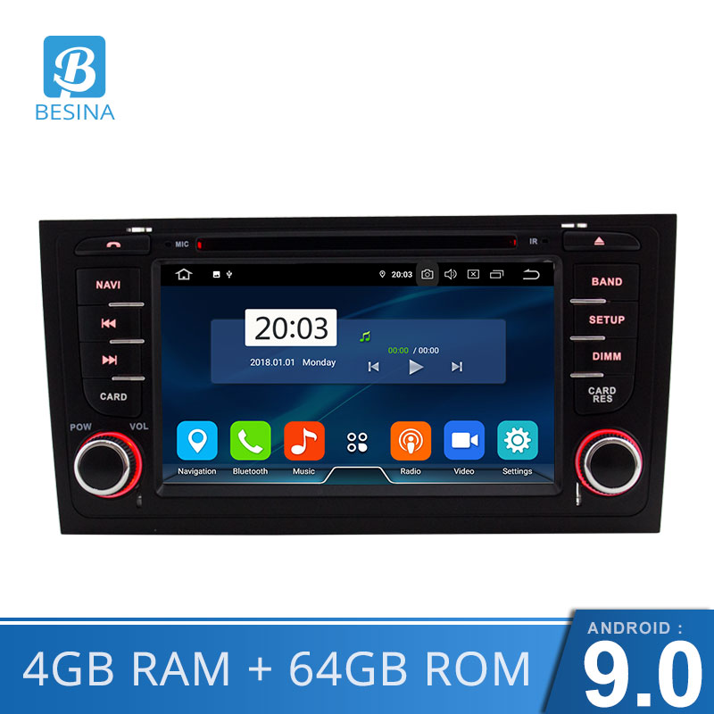 Besina 7 Inch 2 Din Auto Radio Android 9.0 Car DVD player For <font><b>AUDI</b></font> <font><b>A6</b></font> S6 RS6 <font><b>GPS</b></font> <font><b>Navigation</b></font> Multimedia WIFI Audio Stereo Canbus image