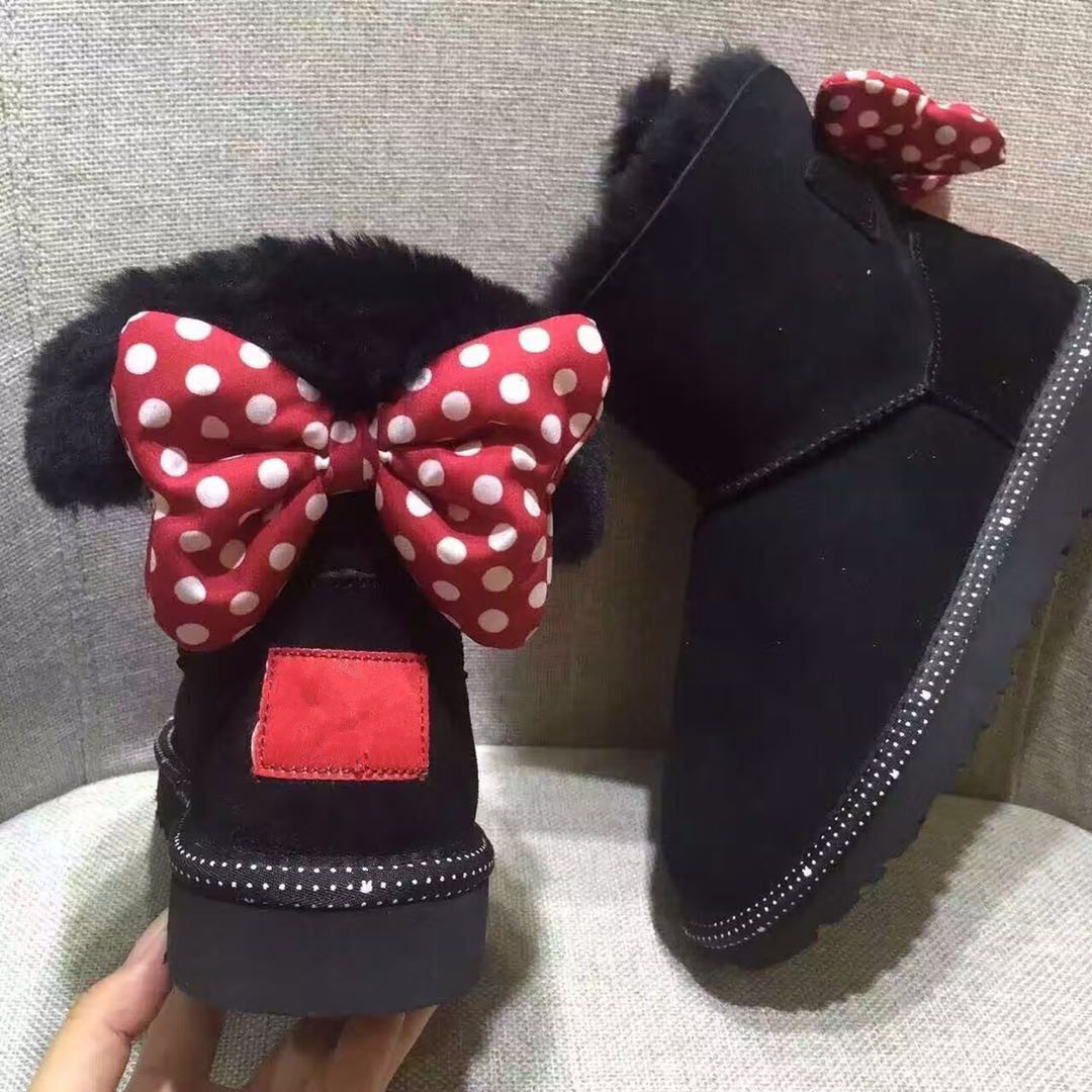 Kids Cute Minnie Snow Boots Girls Cow Leather Waterproof Shoes With Fur Children Winter Warm Baby Booties Snow Wear Boots