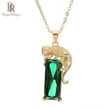 Collier avec bagues Vintage Rectangle pour femmes, bijou géométrique, pierres précieuses, argent 925, vert doré léopard, pendentif cadeau