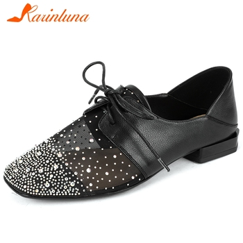 Karinluna 2020 New Fashion Genuine Leather Square Toe Lace-Up Casual Shoes Woman Flats Shallow Crystal Spring Flats Women Shoes