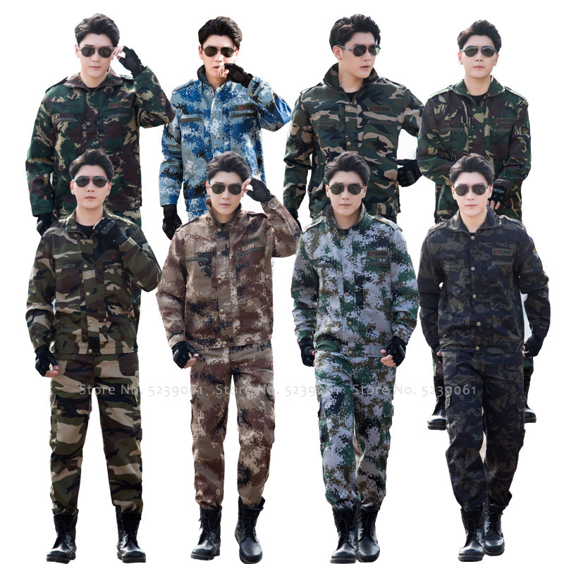 Camouflage Military Uniform Training Combat Tops Jackets Men Special Force CS Hunting Tactical Airsoft Army Soldier Clothing Set