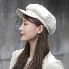 Octagonal cap women's peaked cap autumn and winter Japanese trend Korean version of solid color beret youth PU leather cap
