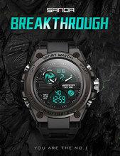 SANDA 739 męski zegarek sportowy top marka luksusowy wojskowy zegarek quartz męskie wodoodporne s wpływ męska zegar Reggio masculino 2020 tanie tanio 2 23cm Podwójny Wyświetlacz 3Bar Klamra Stop 17mm Hardlex Kwarcowe Zegarki Na Rękę ROUND