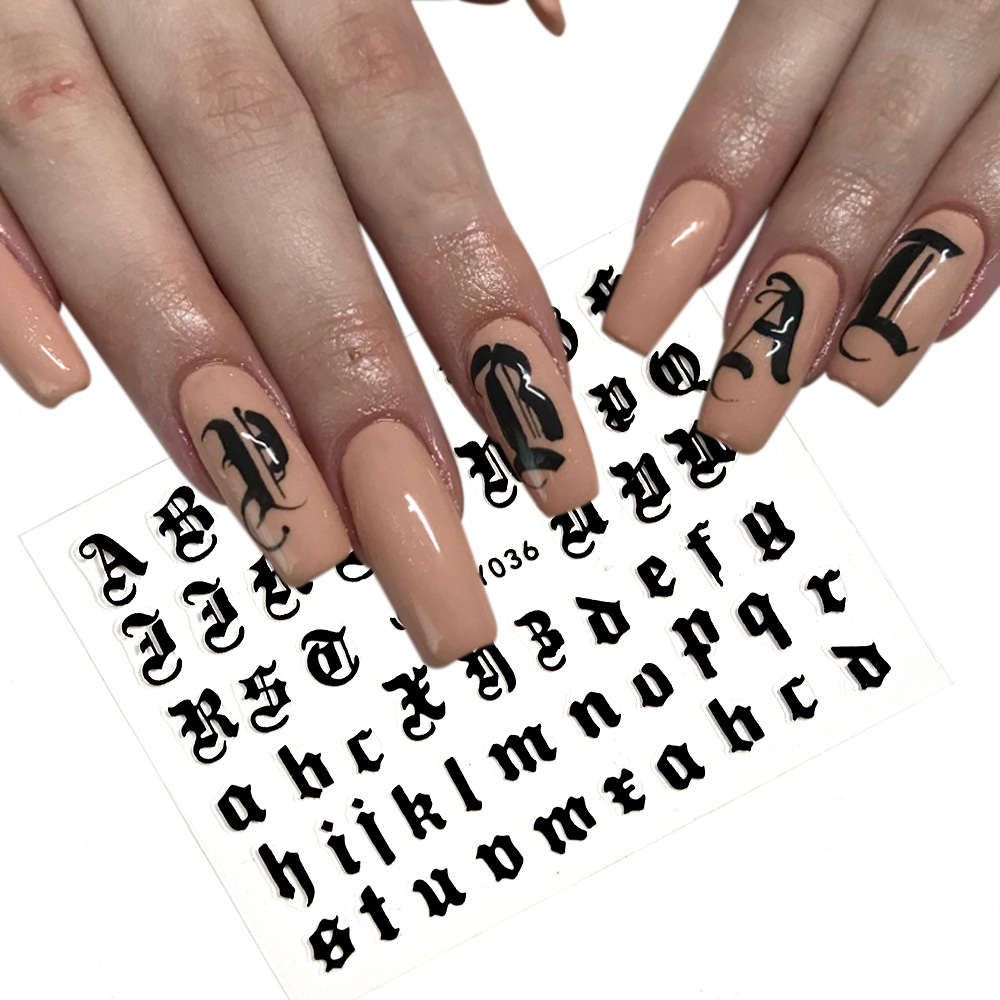 5colors Letter 3d Nail Art Sticker Nail Decal Black Clear Laser Words Character Nail Adhesive Sticker Decals Nail Decoration DIY