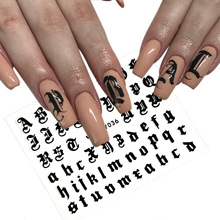 5colors Letter 3d Nail Art Sticker Decal Black Clear Laser Words Character Adhesive Decals Decoration DIY