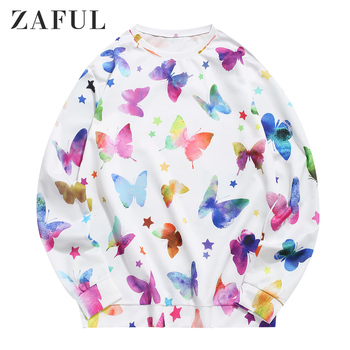 ZAFUL Stars And Butterflies Print Pullover Sweatshirt Animal Sweatshirt Casual Fall Warm Men Pullover Sweatshirt 2020New Fashion animal print drop shoulder sweatshirt