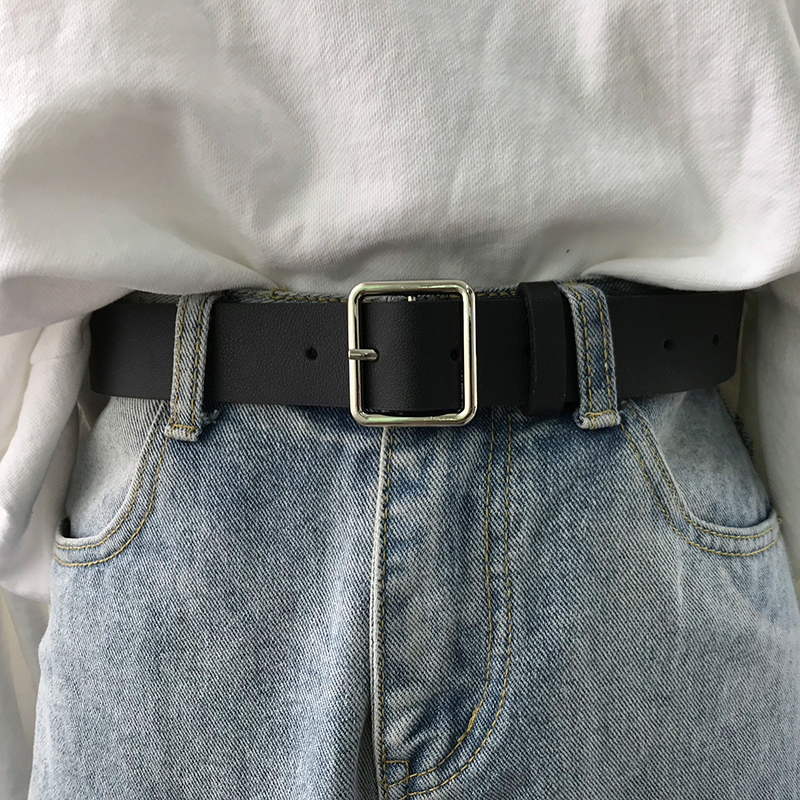 2021 PU Leather Belt Women Square Buckle Metal Pin Buckle Jeans Black Belt Chic Luxury Brand Vintage Belt Female