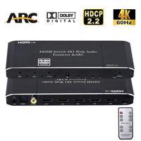 Mini 4x1 4K HDMI Schalter Audio Extractor Mit ARC & Optische Toslink HDMI 2 0 Schalter 4K 60Hz HDMI Switcher Fernbedienung Für Apple TV PS4-in HDMI-Kabel aus Verbraucherelektronik bei