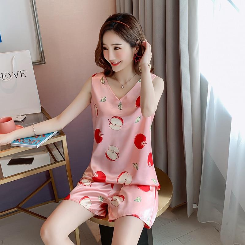 2pcs Women Sleepwear For Summer Short Ice Silk Vest Pajamas Sets 2020 Girl Print Pyjama Set Women Nightshirt Sets Sexy Home Wear