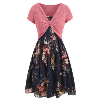 2020 Women Sexy Fashion Dresses Comfortable Casual Summer Cami Flower Printed Elegant Neat Dress With Crop T-shirt Vestidos #O 1