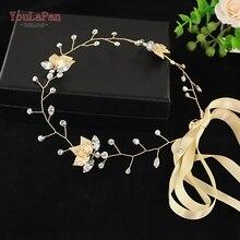 YouLaPan SH114-G Women Evening dress Belt Wedding  Bridal Belts Crystals Sash Gold leavers Thin