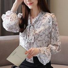 Womens Chiffon Butterfly knot Shirt New Autumn Bow Collar Flare Long Sleeve Print Blouses 937B7