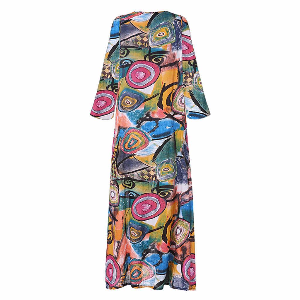 2019 חדש בתוספת גודל נשים בציר V צוואר אתני מודפס ארוך שרוולים מקרית מקסי שמלת Vestidos סתיו חורף בציר