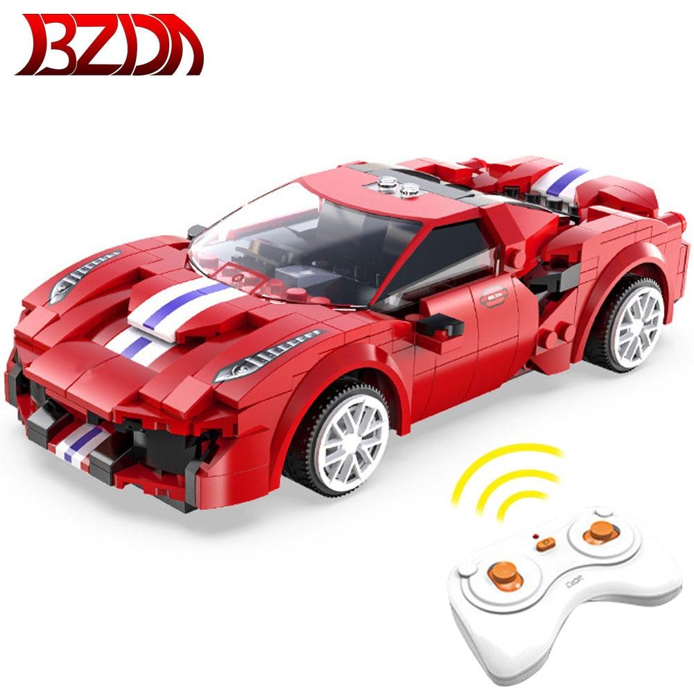 BZDA Remote control Car Red Track Sports Car Building Blocks Speed Champion Racing RC Car Model Blocks Child Boy Toys Gift