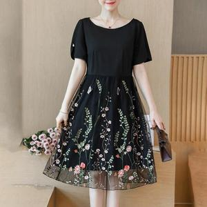 Image 1 - L 5XL Large Size Women Summer New elegant Knee Length Mesh Embroidered Fairy Korean Age Reduced Slim Plus Size Cocktail Dresses