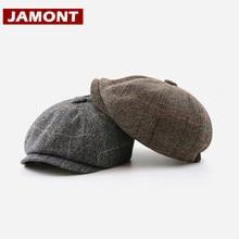 Caps British Painter-Hat Octagonal-Hat Newsboy Hat Men Beret Retro JAMONT Plaid for Casquette
