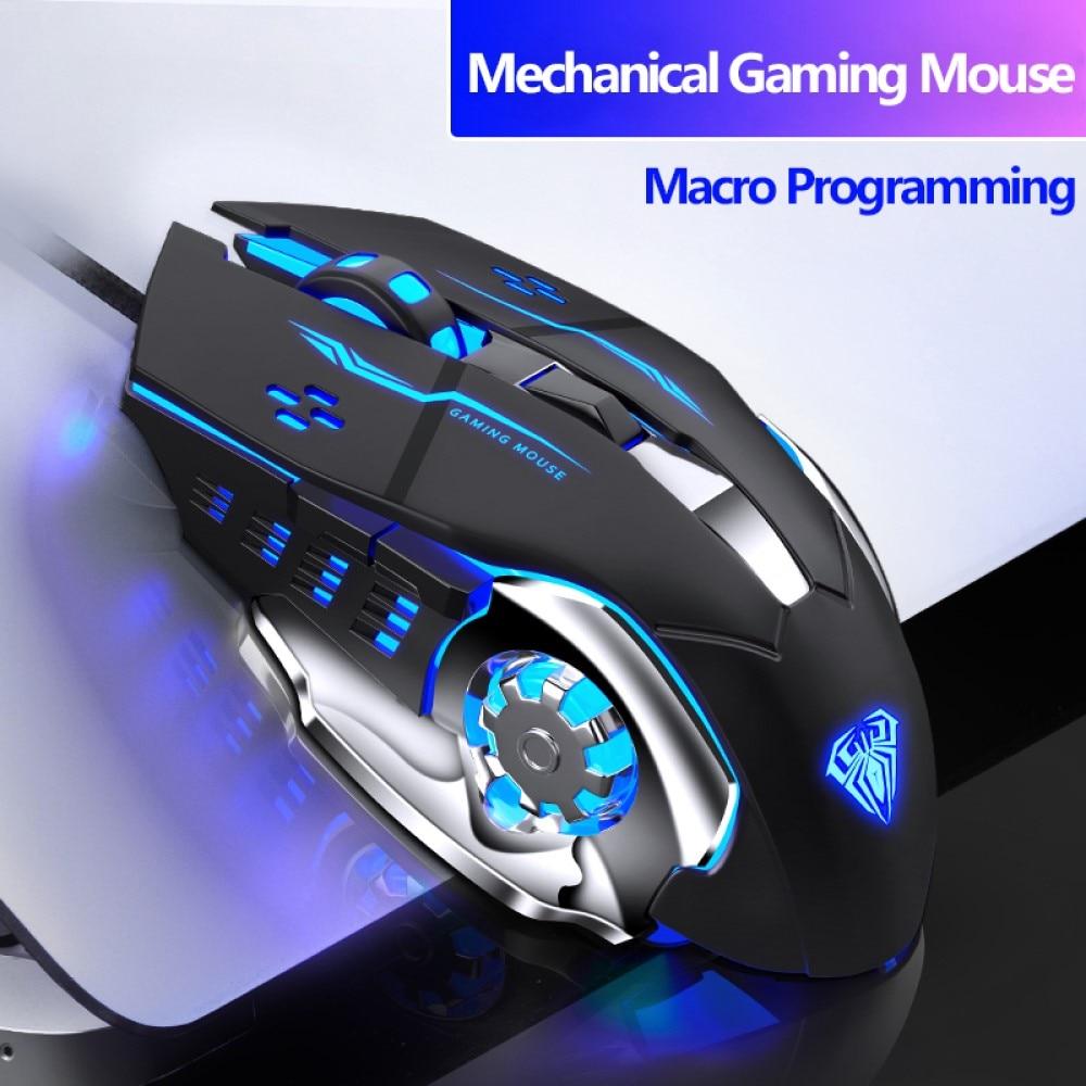 Wired משחקי עכבר 6 כפתורים הניתנים לתכנות ארגונומי עכברים צבעוני LED אור למחשב נייד מחשב PC, משחק ולמשרד