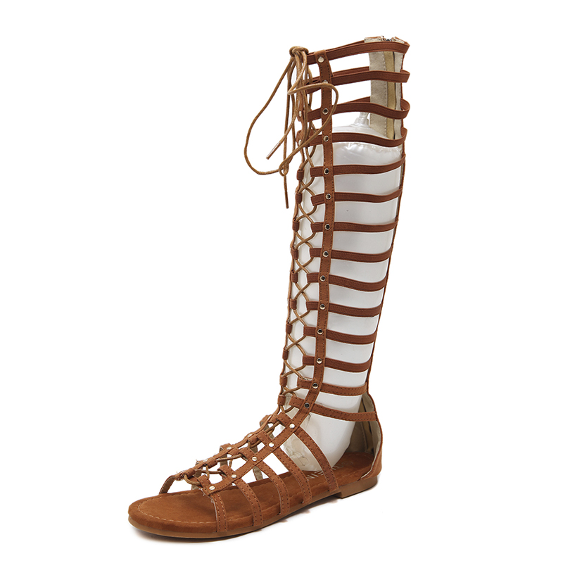 Купить с кэшбэком NIUFUNI Leather Women's Lace Up Sandals Strappy Peep Toe Knee High Back Zip Gladiator Flats Sandals Roman Bandage Casual Shoes