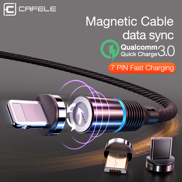 Cafele Newest LED QC3.0 Magnetic USB Cable for iPhone Micro USB Cable type C Braided cable Charger for Samsung Xiaomi Huawei | HOTSHOPDIRECT