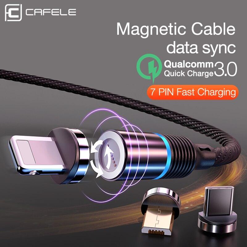 Cafele qc3.0 novo cabo magnético para iphone, usb, led, micro usb, tipo-c, trançado, para samsung, xiaomi huawei huawei