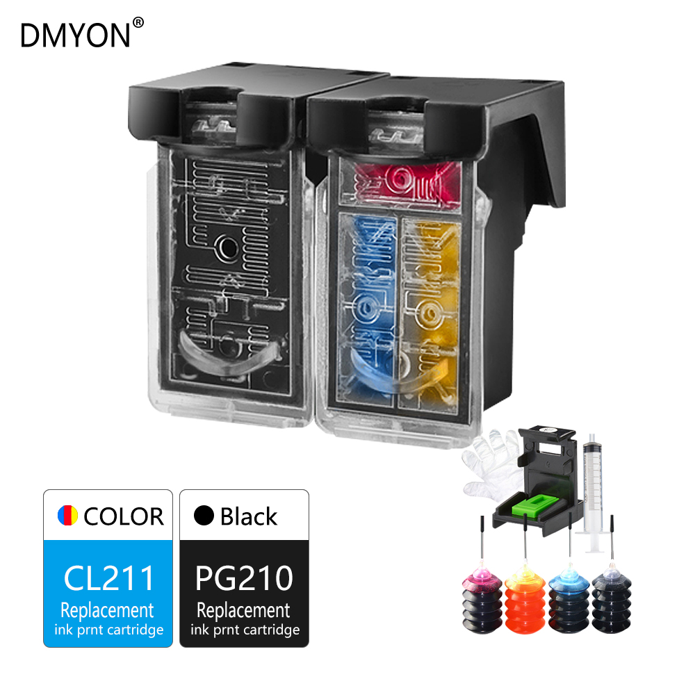 DMYON Refillable Ink Cartridge Replacement for Canon PG210 CL211XL for Pixma MP240 MP250 MP260 MP270 MP280