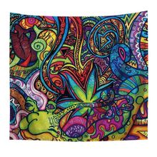 Tapestry Abstract Unusual Figure with Color and Hippie Arabesque Retro Pattern