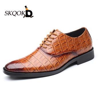 SKQOKD Italian Men Dress Shoes Retro Leather Crocodile Grain Business Men Shoes Party Wedding Slip On Men Flat Loafer Shoes38-47