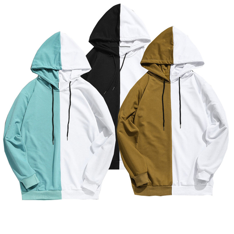Men's Clothing Adult Unisex Stitching Hoodie Cotton Hooded Jacket Jumper Causal Basic Blank Solid Sweatshirts