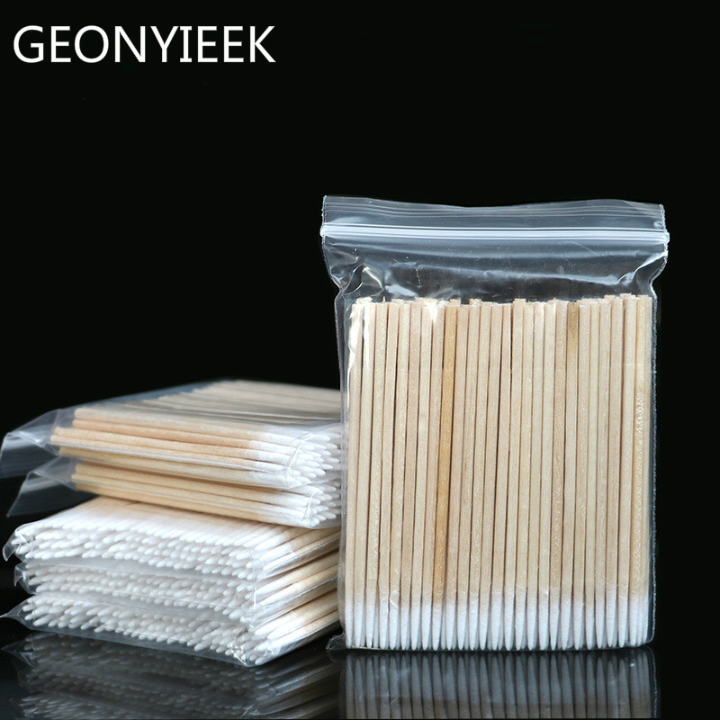 100 / 300pcs Wood Cotton Swab Eyelash Extension Tools Medical Ear Care Cleaning Wood Sticks Cosmetic Cotton Swab Cotton Buds Tip