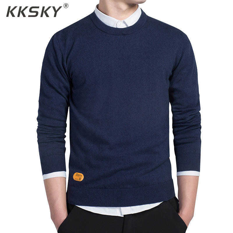 Mens Cotton Sweater Pullovers Men O-neck Sweaters Jumper black Autumn Thin Male Solid Knitting Clothing Grey Black M-3xl New