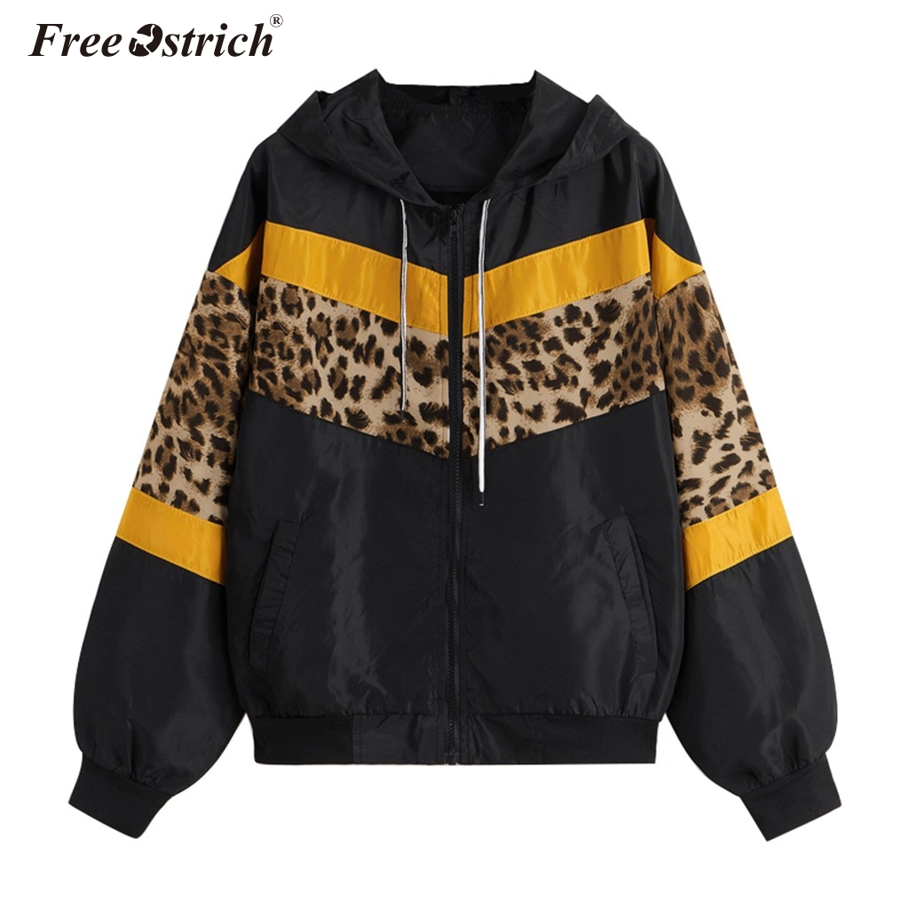 Free Ostrich Women Windbreaker   Jacket   Female Multicolor Patchwork Hooded   Jacket     Basic     Jackets   Color Coats For Women N30