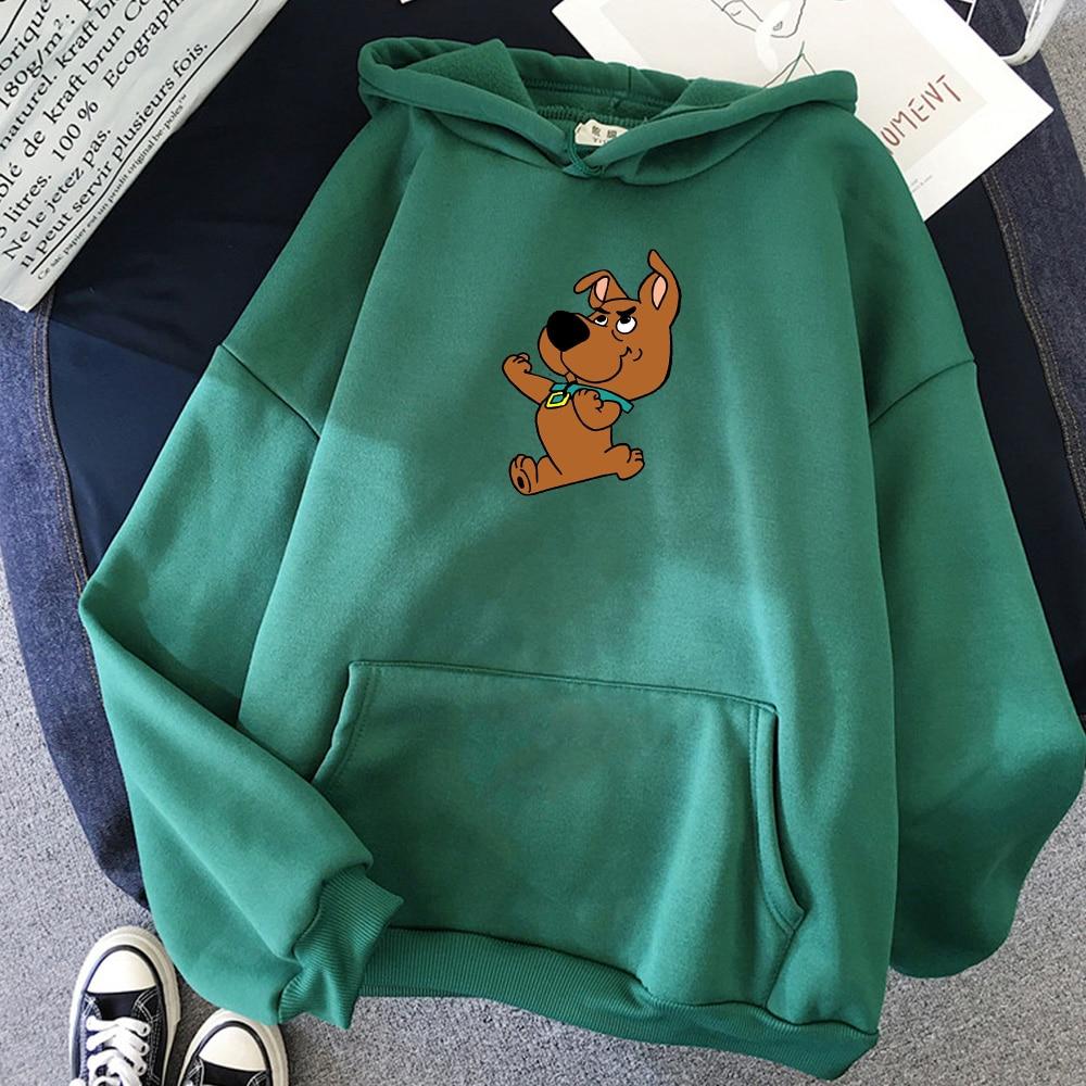 Dog Cartoon Print Funny Kawaii Sweatshirt Warm Streetwear Harajuku Hoodie Female Women's Jacket Feminine Itself Fashion Casual