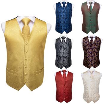 Hi-Tie 100 jedwabne męskie luksusowe biznesowe kamizelki dla mężczyzn 4PC Hanky spinki do mankietów kamizelka i krawat zestaw moda szampana czerwony Flora garnitur kamizelki tanie i dobre opinie MS-0010 Formalne SILK Men s vest for suit suit waistcoat vest set Red Blue Sliver Brown Pink Yellow Gold Golden Vest