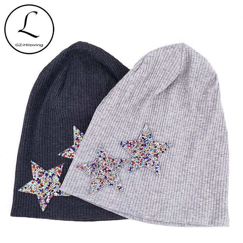 GZhilovingL Colorful Rhinestones Star Beanies Hats For Woman Ladies 2019 New Autumn Winter Cotton Ribbed Slouch Skullies Hats