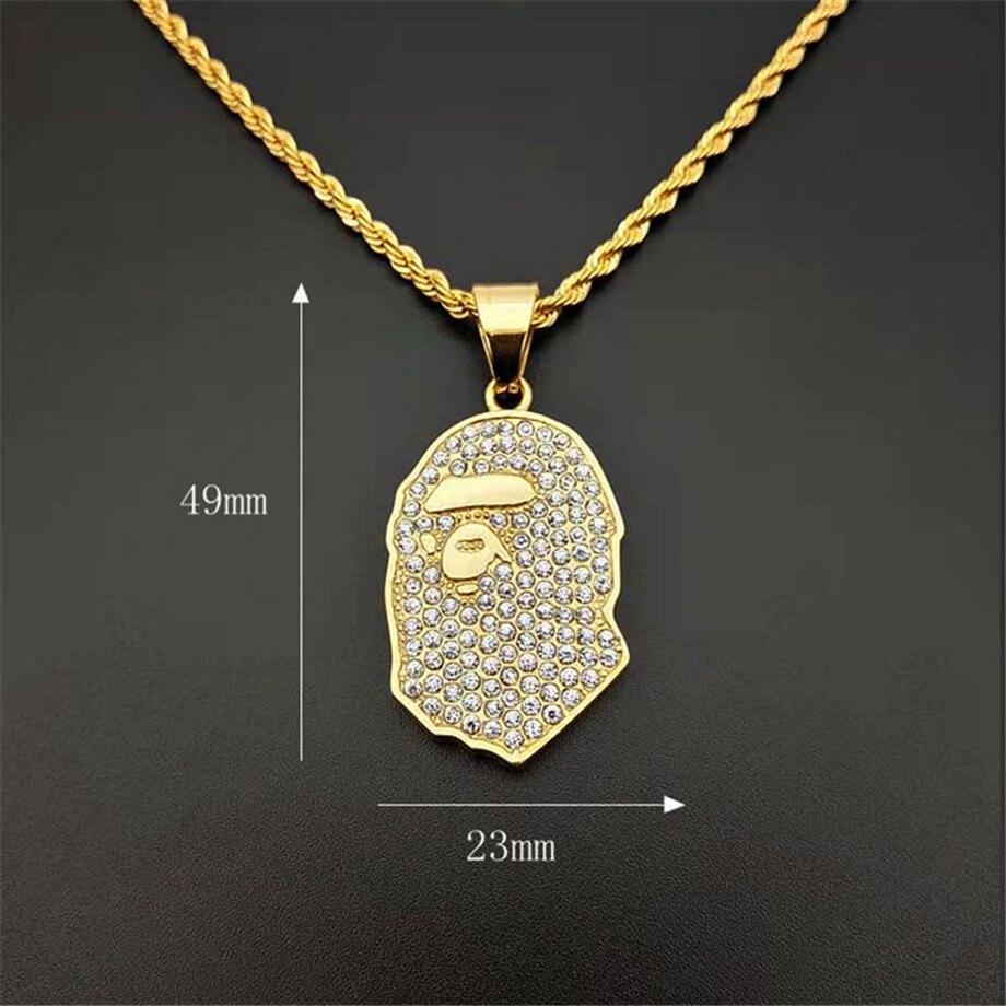 Rhinestone Ape Man Necklace Men's Hiphop Rapper Pendent CLOVER JEWELLERY