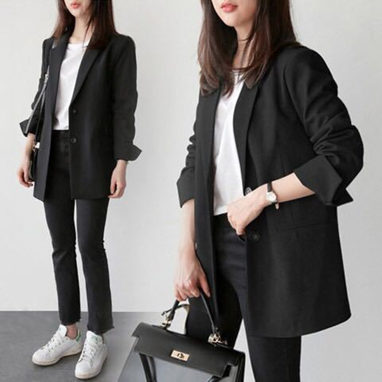 Women Black Suit Blazer Office Jacket Ladies Tailored Oversized Fashion Double Buttons Long Loose Coat Formal Casual Autumn 2020