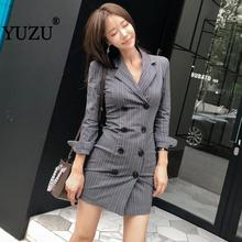 Blazer Feminino Office Women Gray Vertical Stripes Black Double Breasted Long Sleeve Bodycon Mini Dress Notched Womens Clothing