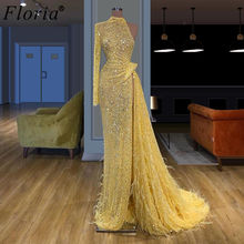 Elegant Yellow Beads Evening Dresses Long Muslim One Shoulder Prom Dresses Woman Party Gowns Arabic Fairy Pageant Dress High Cut