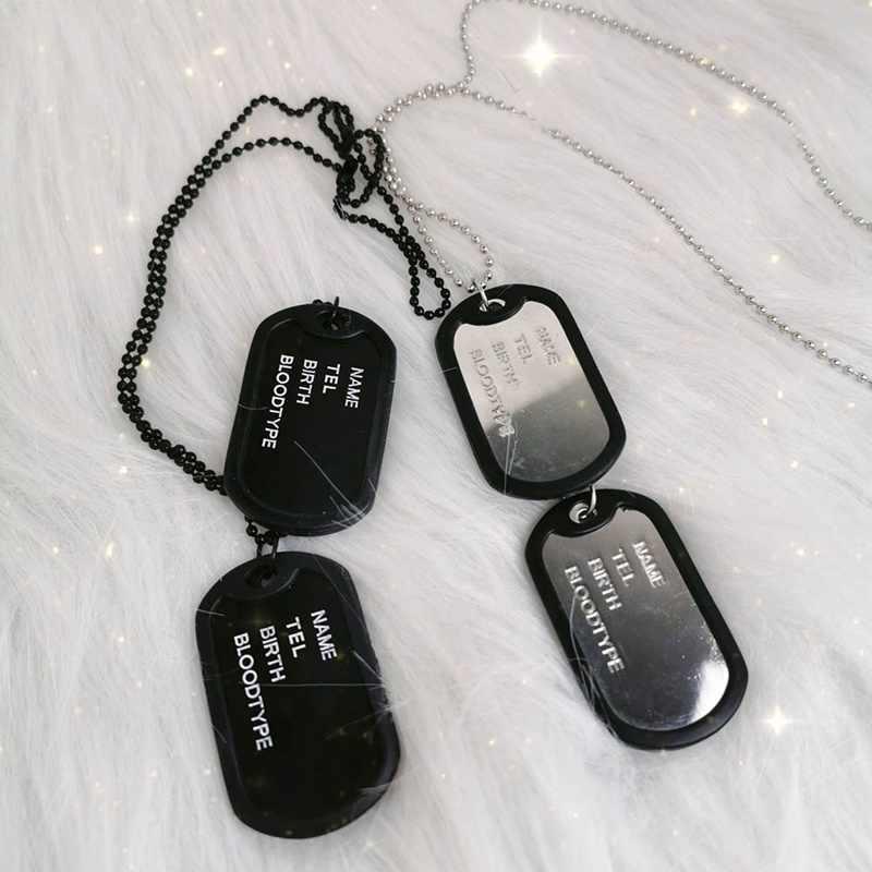 แฟชั่นกองทัพทหารสไตล์สีดำสี่แถวตัวอักษรคู่สุนัข Tags CHAIN Mens จี้สร้อยคอ Men Link โซ่