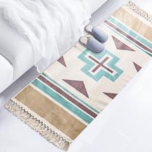 Cotton and Linen Bedroom Bedside Mat Long Floor Living Room Sofa Carpet Tatami Machine Washable boho carpet