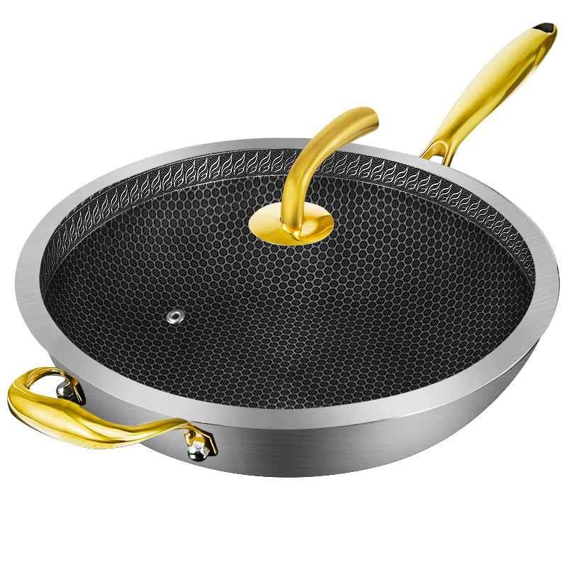 Wok poêle antiadhésive 304 acier inoxydable moins de fumée multi-fonction ménage marmite cuisinière à induction gaz pour wok mx9121107