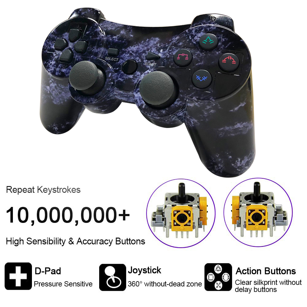 Controllers For PS3 Playstation 3 Dual Shock, Wireless Bluetooth Remote Joystick Gamepad For Six-axis With Charging Cable