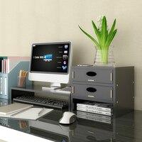 デスクトップオーガナイザーホルダーコンピュータモニター高めるラック木製 mdf オフィス用品引き出し収納ラップトップ棚家庭生活