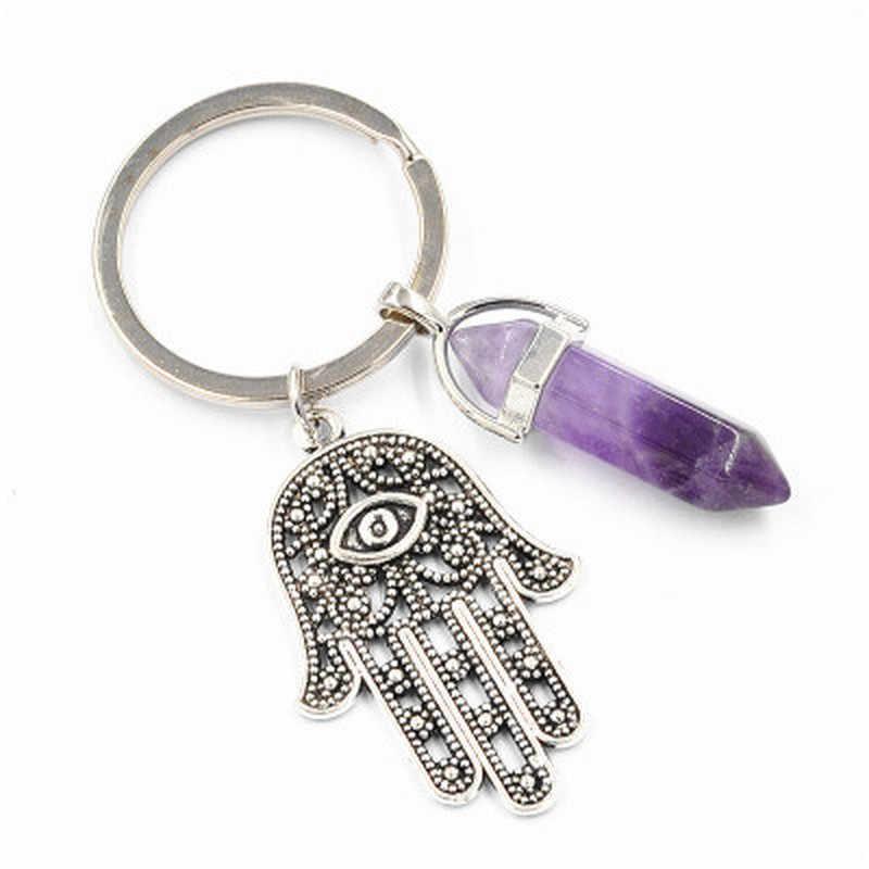1pc moda natural pedra pingente chaveiro natural quartzo pedra olho mau fatima rosa cristal chaveiros accessorie jóias presente