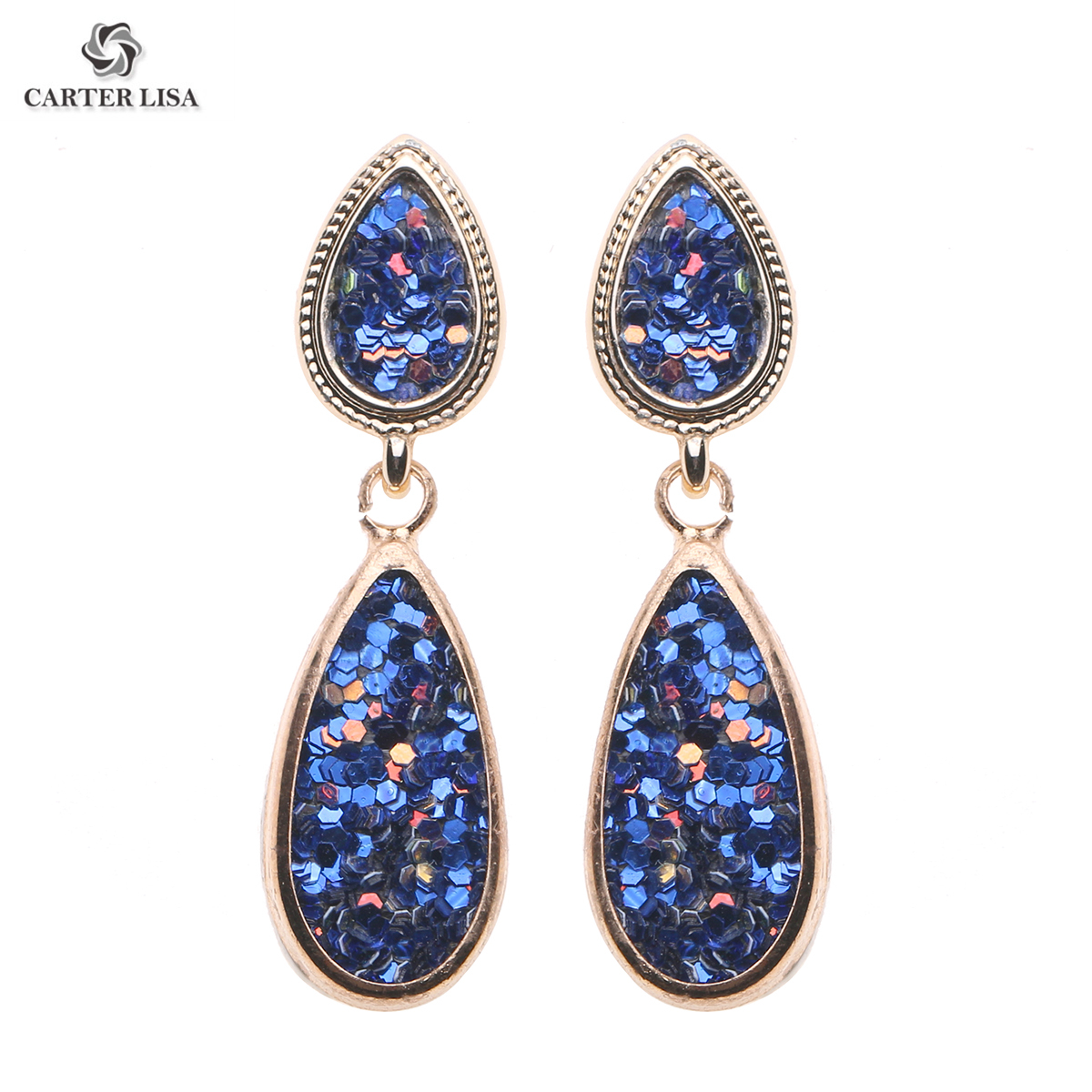 CARTER LISA 2019 Fashion Alloy Long Earrings 2019 For Women Femme  Handmade Colorful Stud Pendant Drop Dangle Earrings HDEA-089