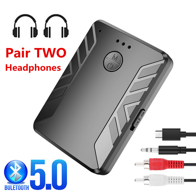 Receptor Bluetooth 5,0 par de 2 auriculares estéreo música TV PC adaptador de Audio inalámbrico para coche RCA 3,5mm Aux Jack con micrófono