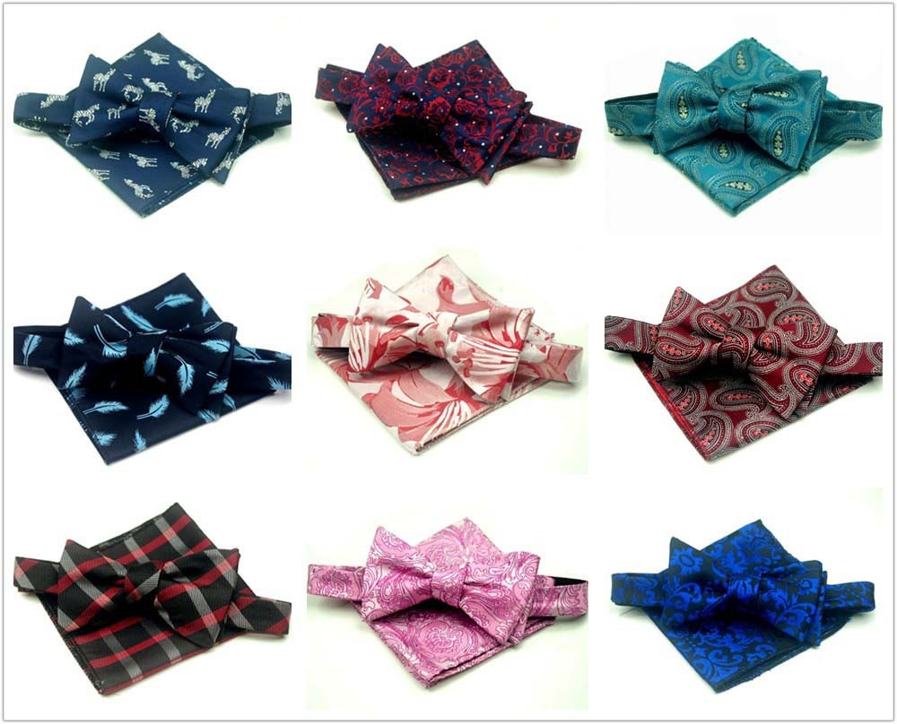 Hand Bowtie Suit Pocket Square Set Bowtie Self Tie BOWTIE Pocket Square