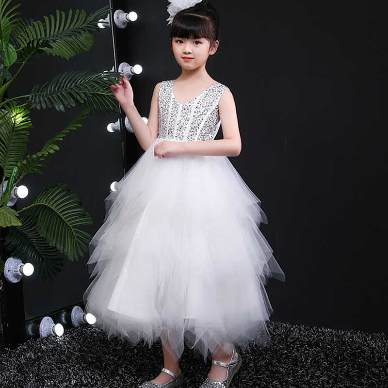 Chinese Qipao Kids Girl's Birthday Party Dress Flower Girl's Banquet Party Dress Sequined  Wedding Bridesmaid Party Dress