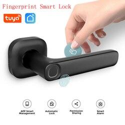 Cerradura inteligente Tuya con huella dactilar, cerradura inalámbrica para puerta inteligente, cerradura de red NEC para tarjeta, soporte para el hogar Alexa Google Home