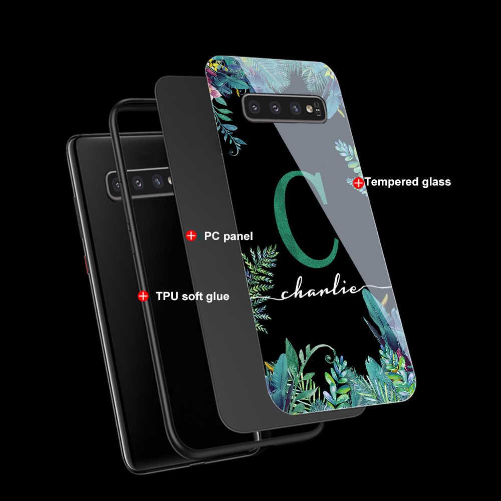 Ciciber untuk Samsung S10 A50 S9 S8 S7 A70 A30 A20 A40 M10s Catatan 10 9 8 S10e S10 + PLUS Lite Edge Seni Nama Kustom Kaca Penutup